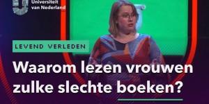 Header voor mijn praatje bij de Universiteit van Nederland met een sprekende Corina op de achtergrond en op de voorgrond de titel Waarom lezen vrouwen zulke slechte boeken?